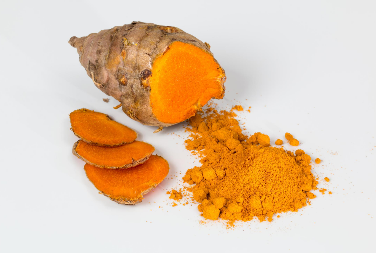 the root of turmeric with golden color