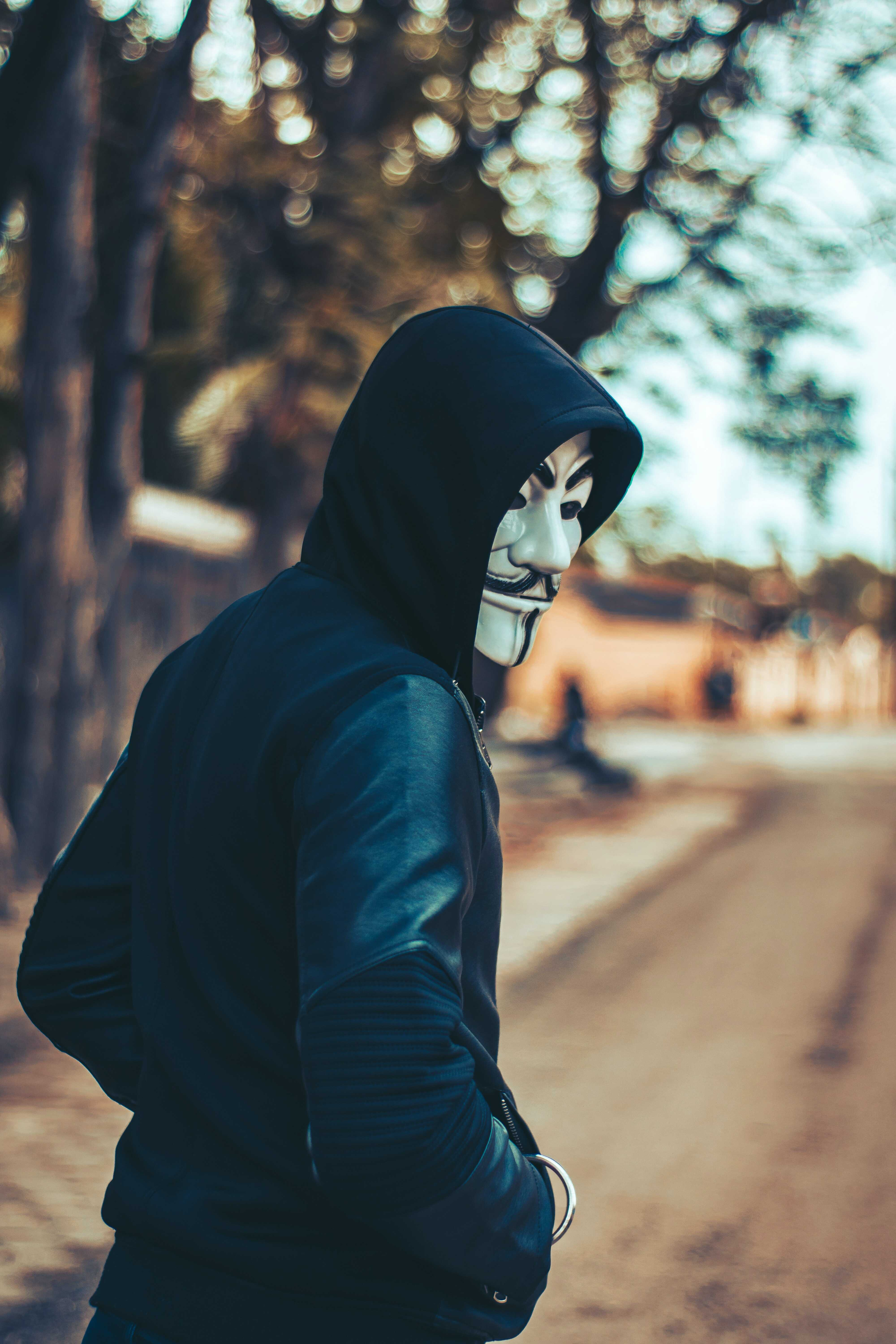 a man with a vendetta mask