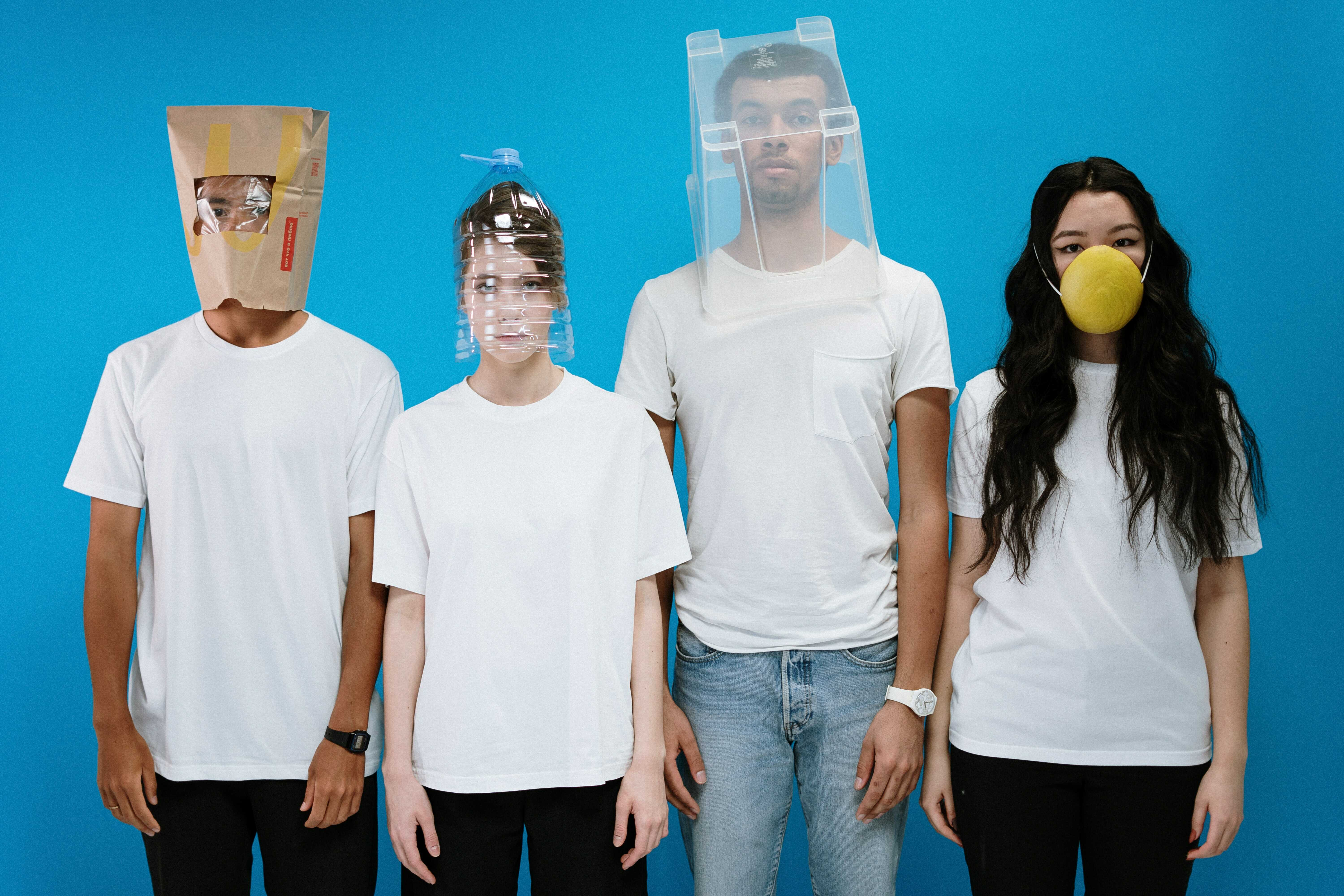 a group of people wearing face masks