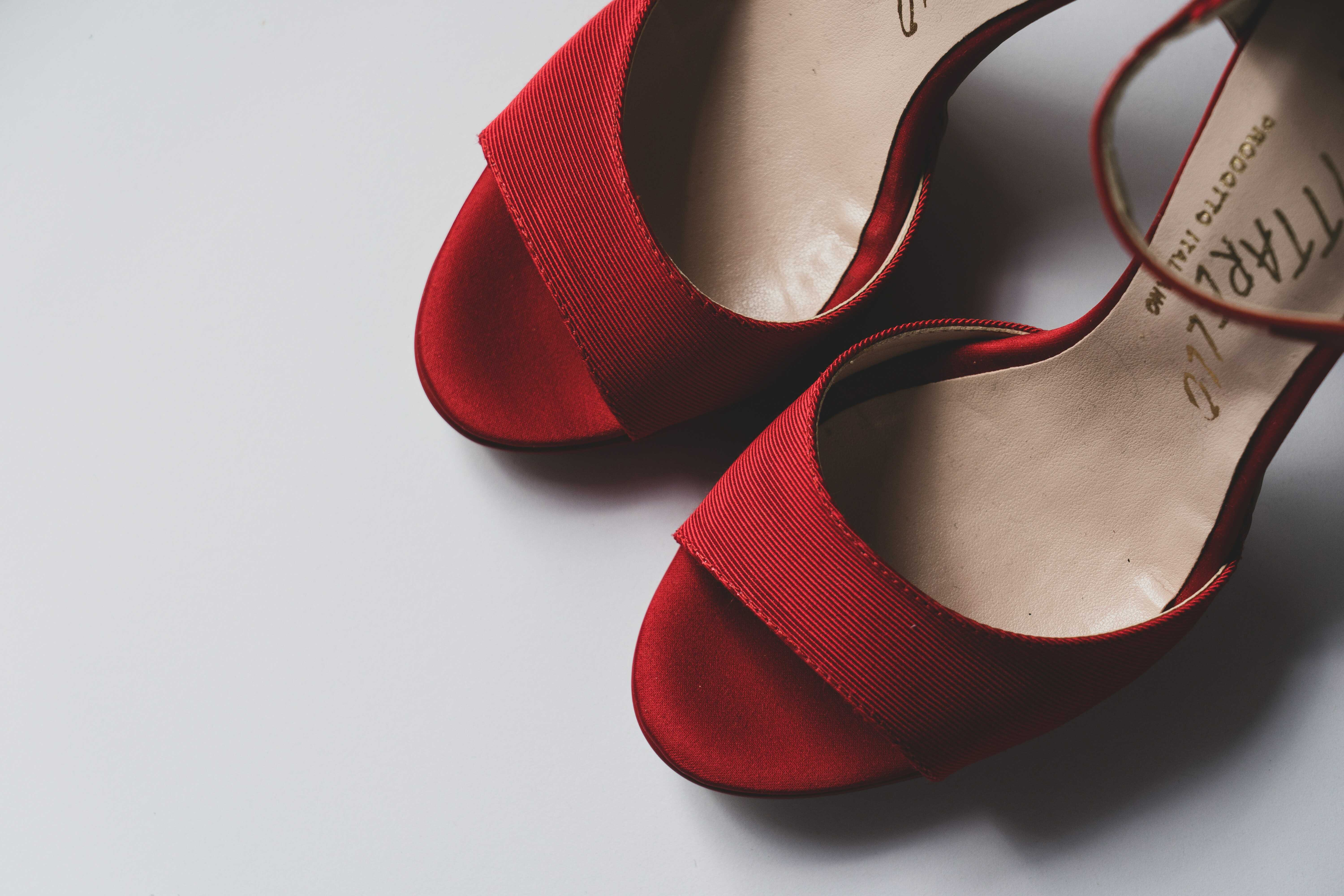 a red open toe sandal