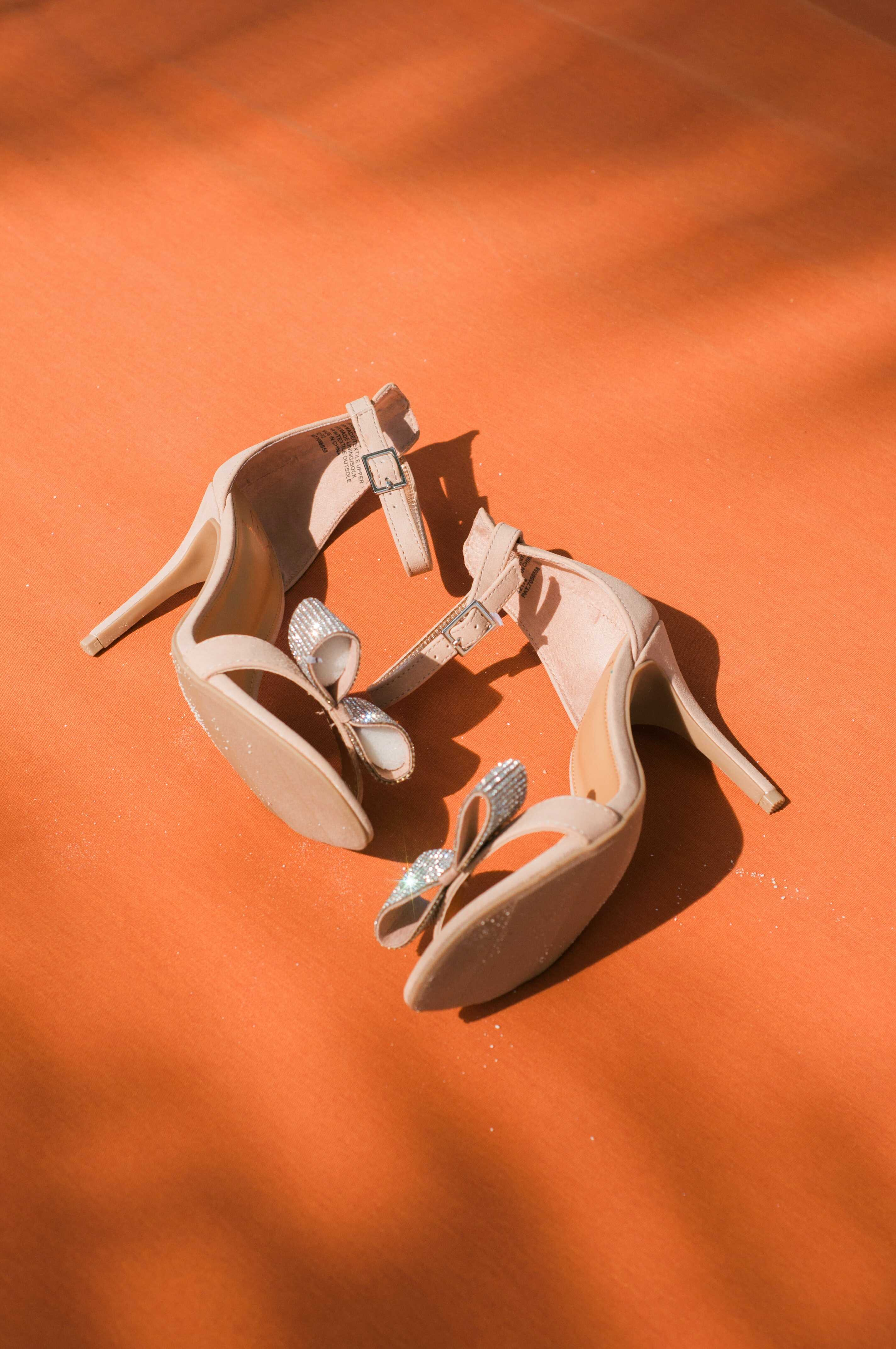 an ankle white heels