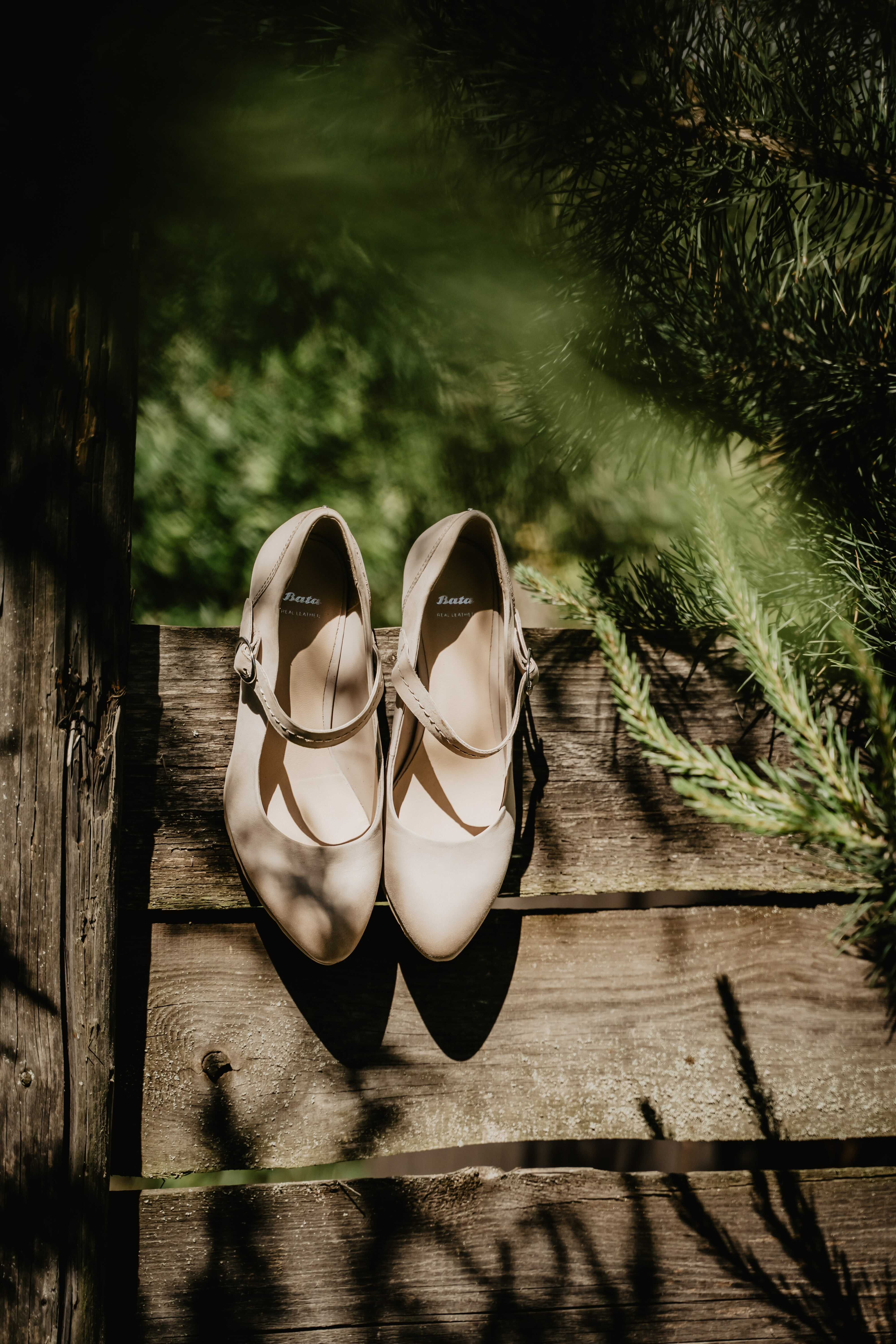 a white heel with mary jane style