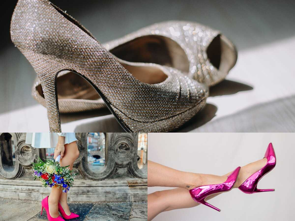 a three of heels, two are pink and a silver one