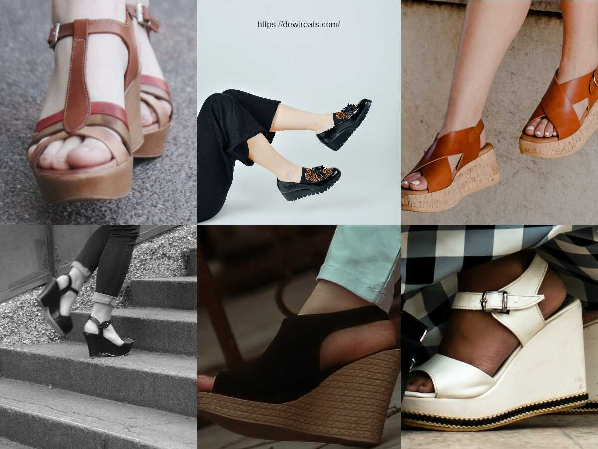 a combination of different shapes of wedge heels