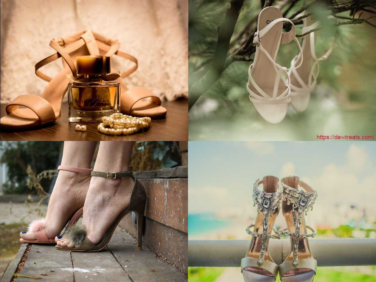 a combination of high heel sandals
