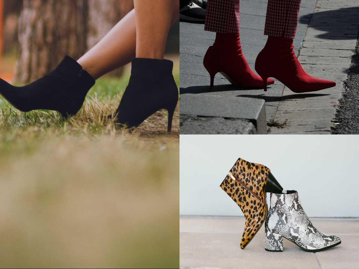 a combination of ankle boots with different colors like red,silver,black ,and tiger shaped one