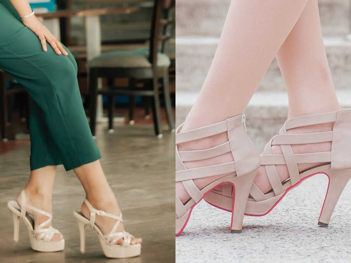 a two cut out heels with a light colors.