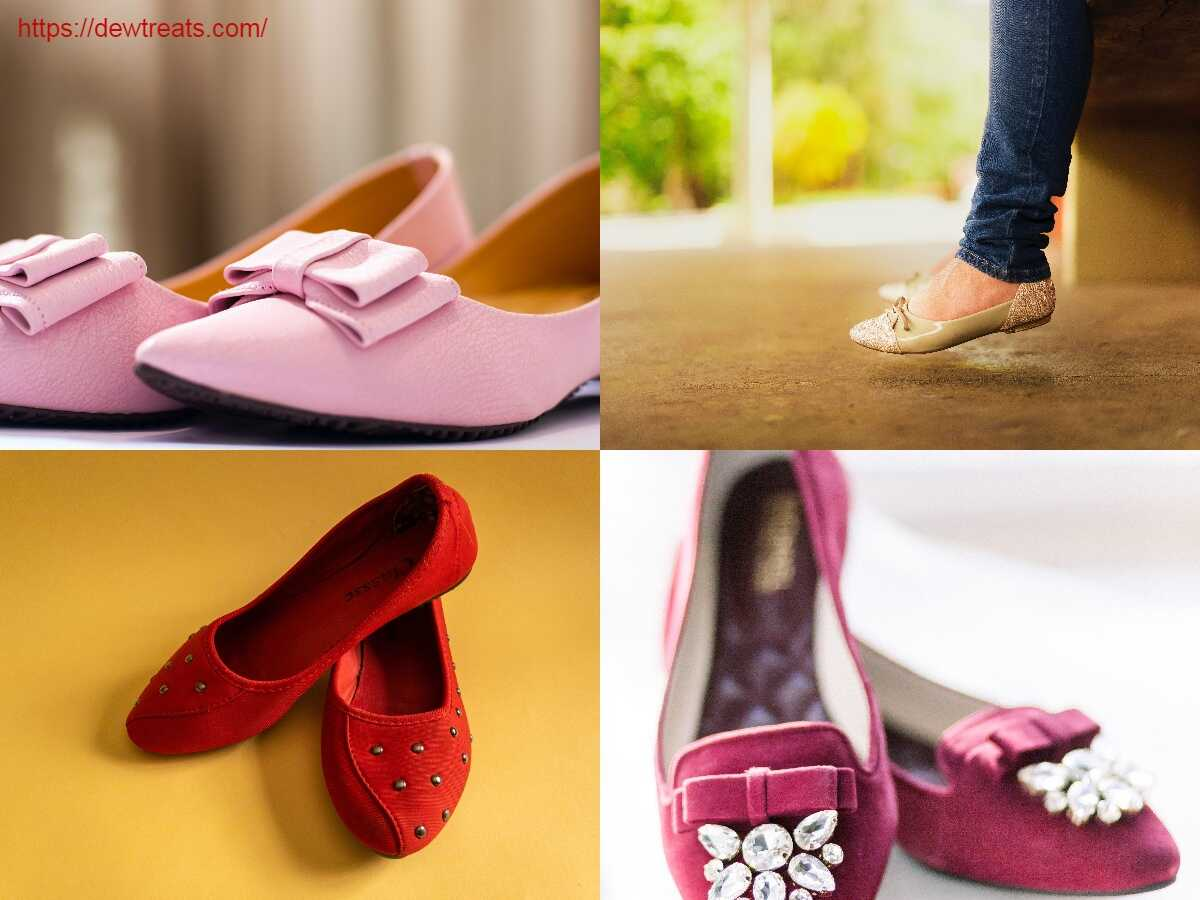 a combination of different shapes of flat shoes