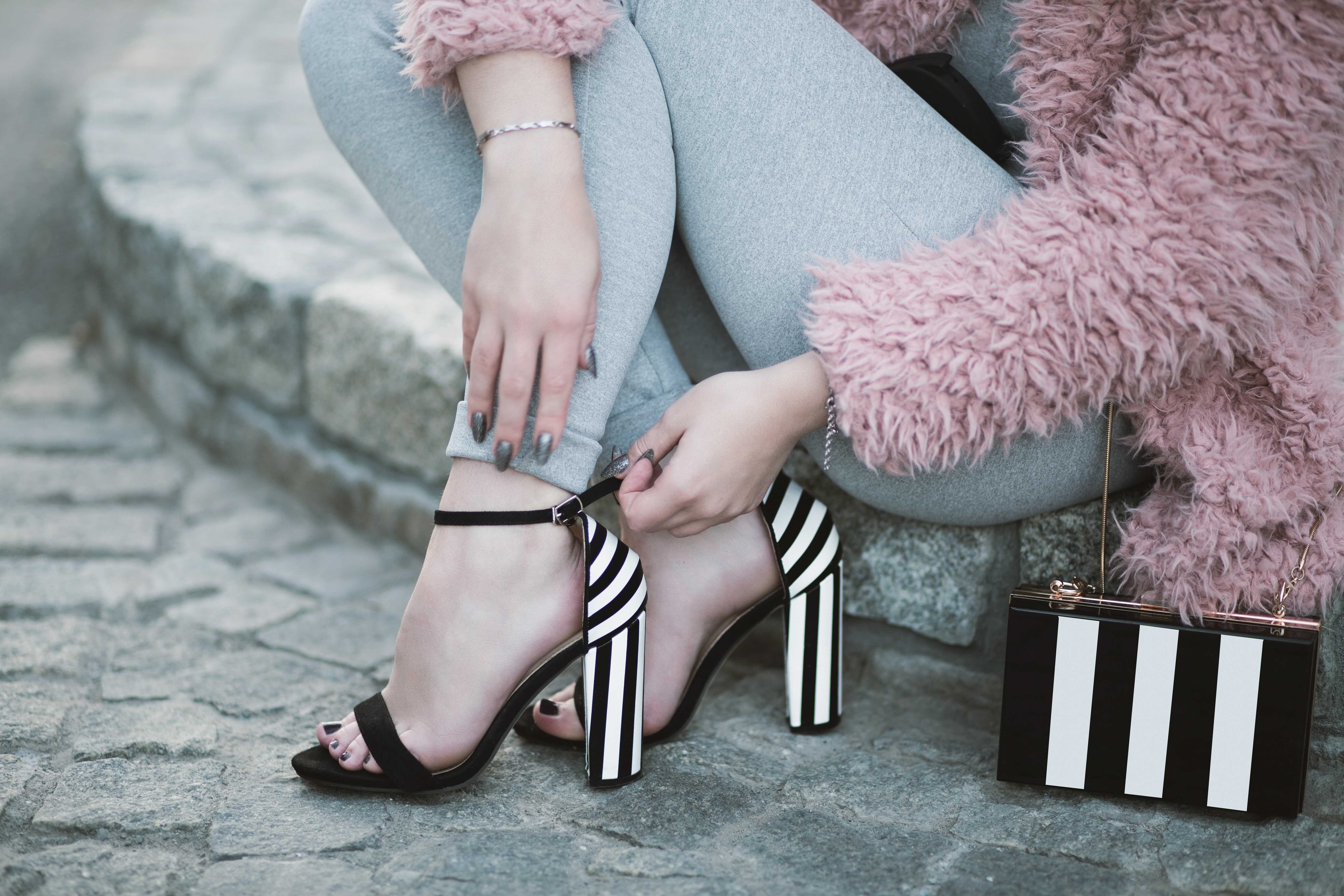 black and white sandal with high heels