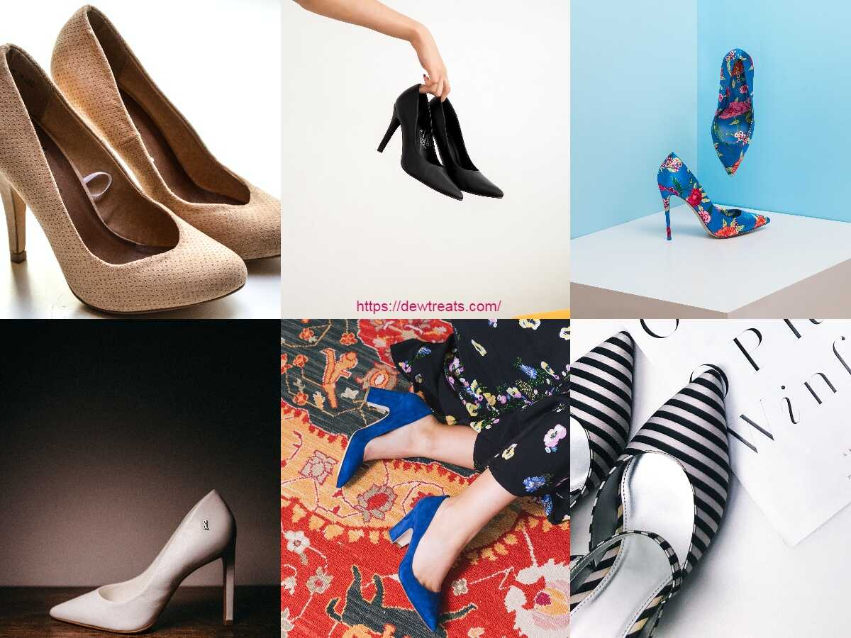 a combination of different heels types and colors