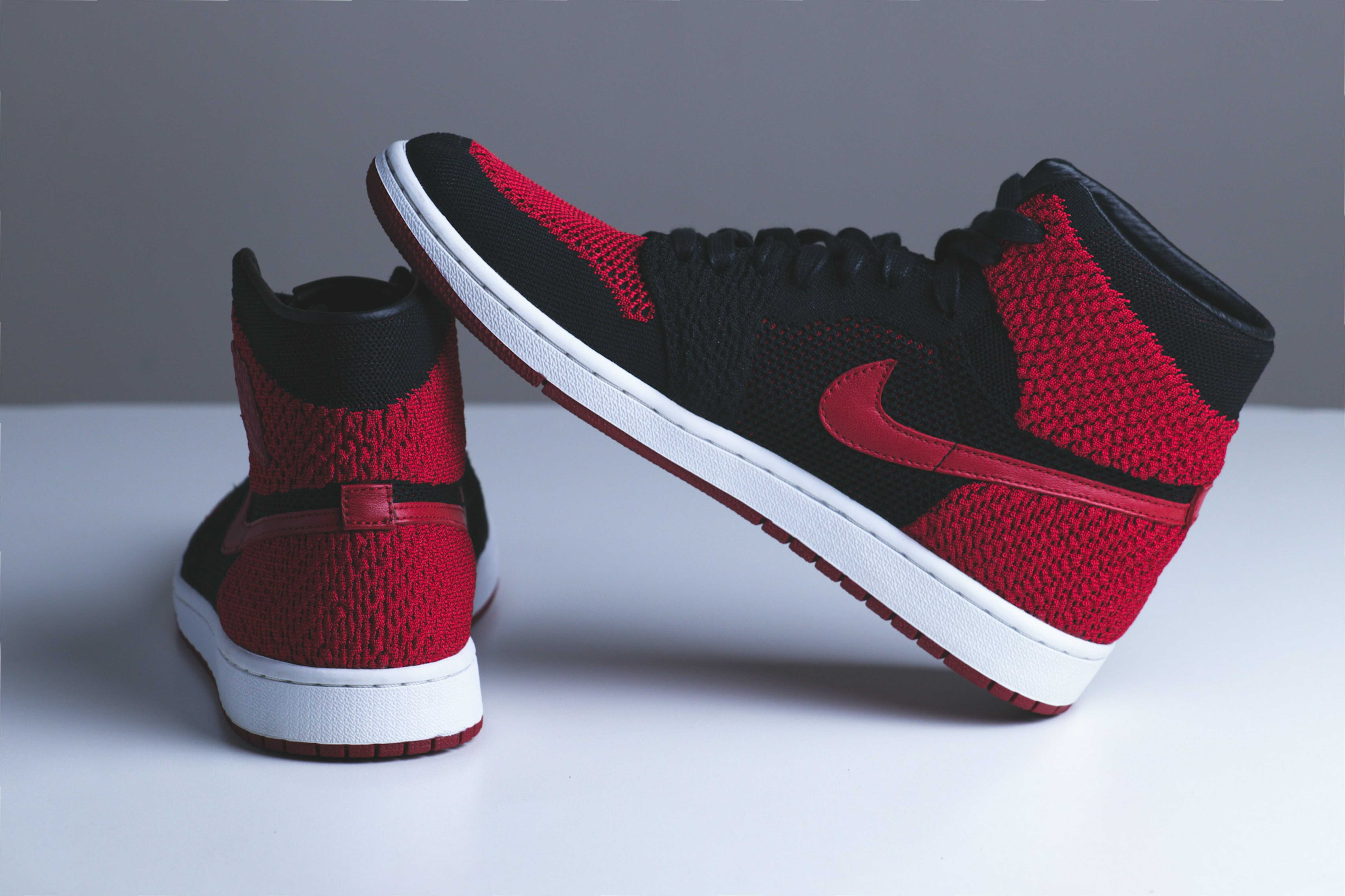 a red athletic shoes