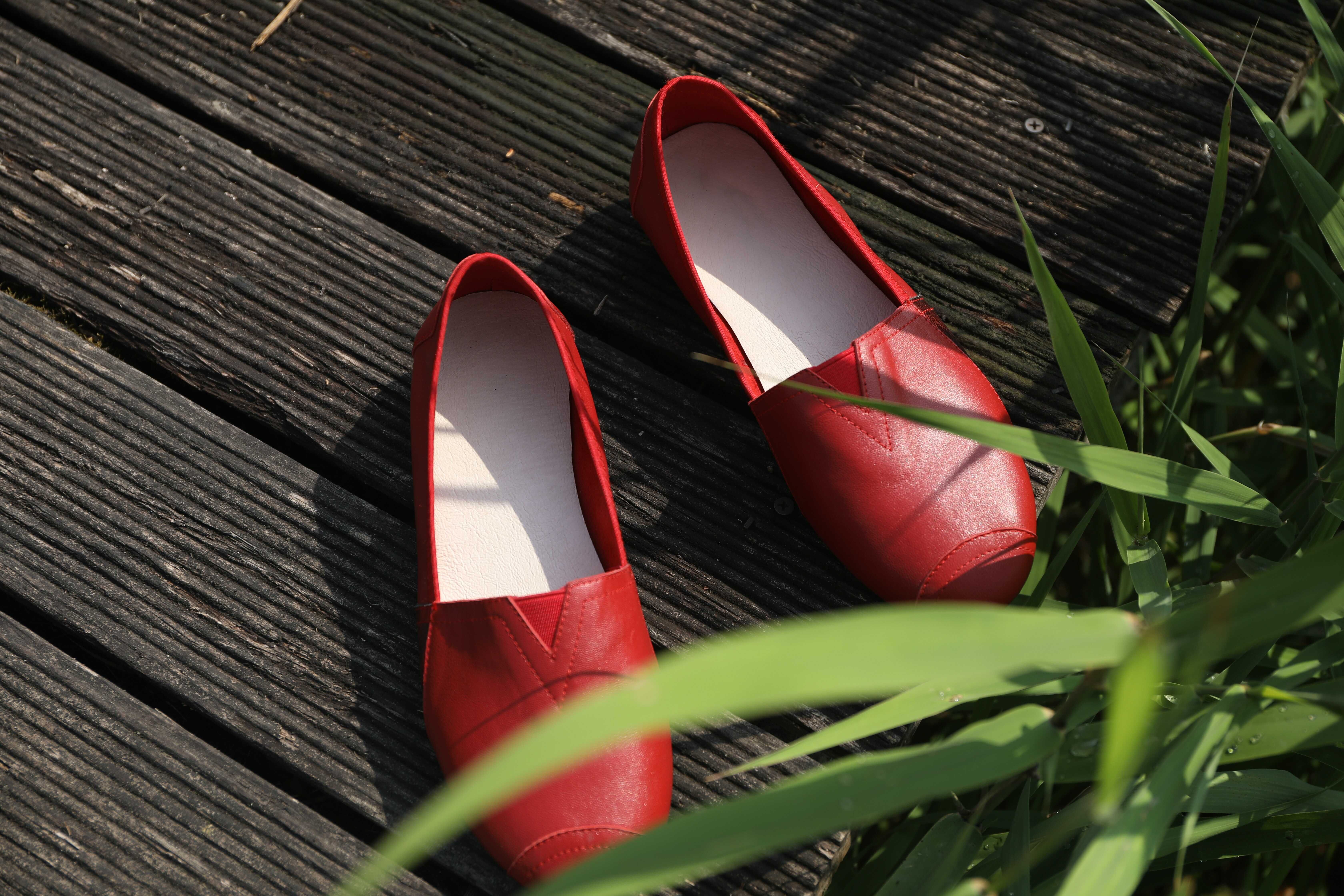 a red moccasin shoes