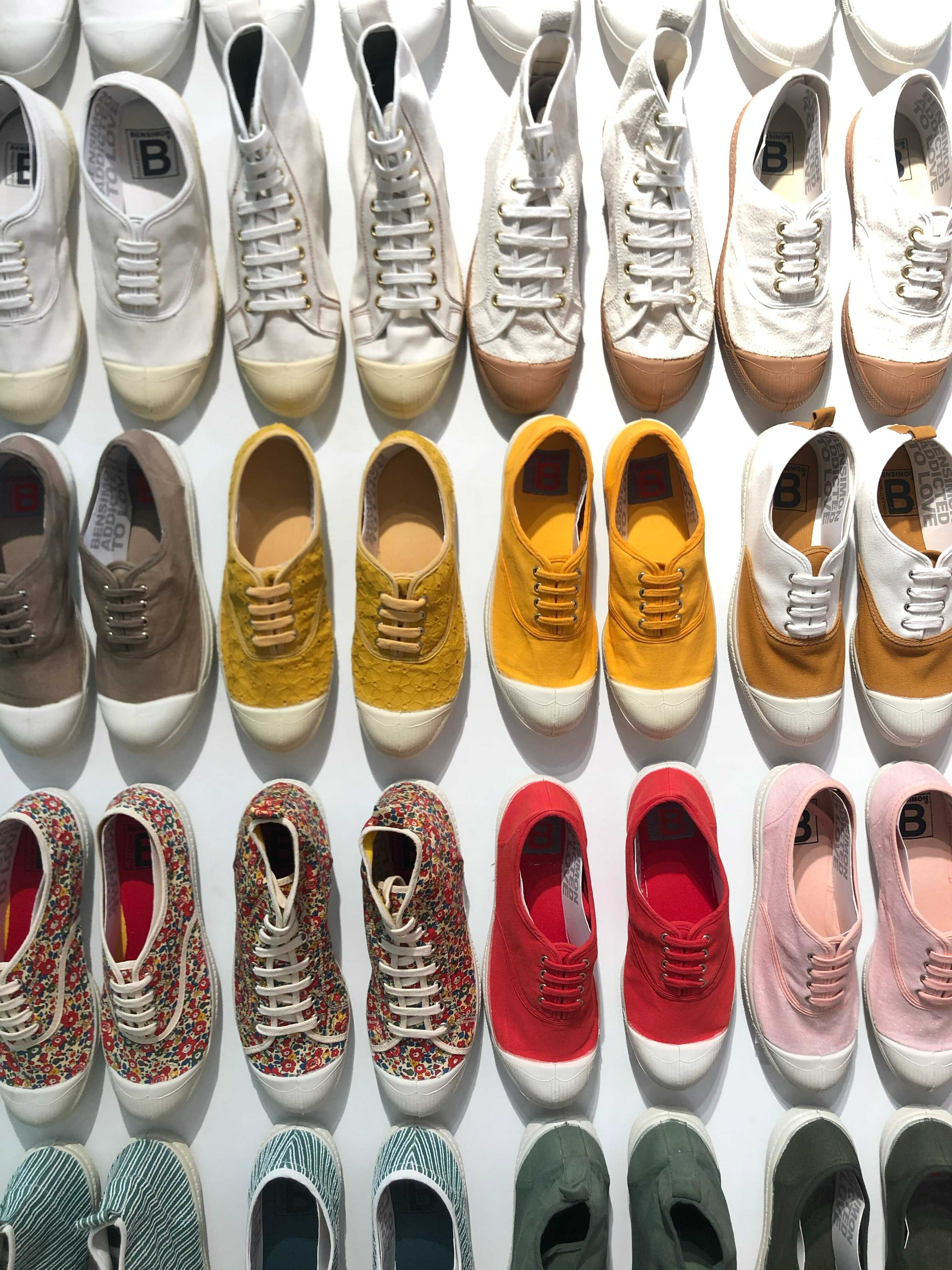 different colors of canvas shoes