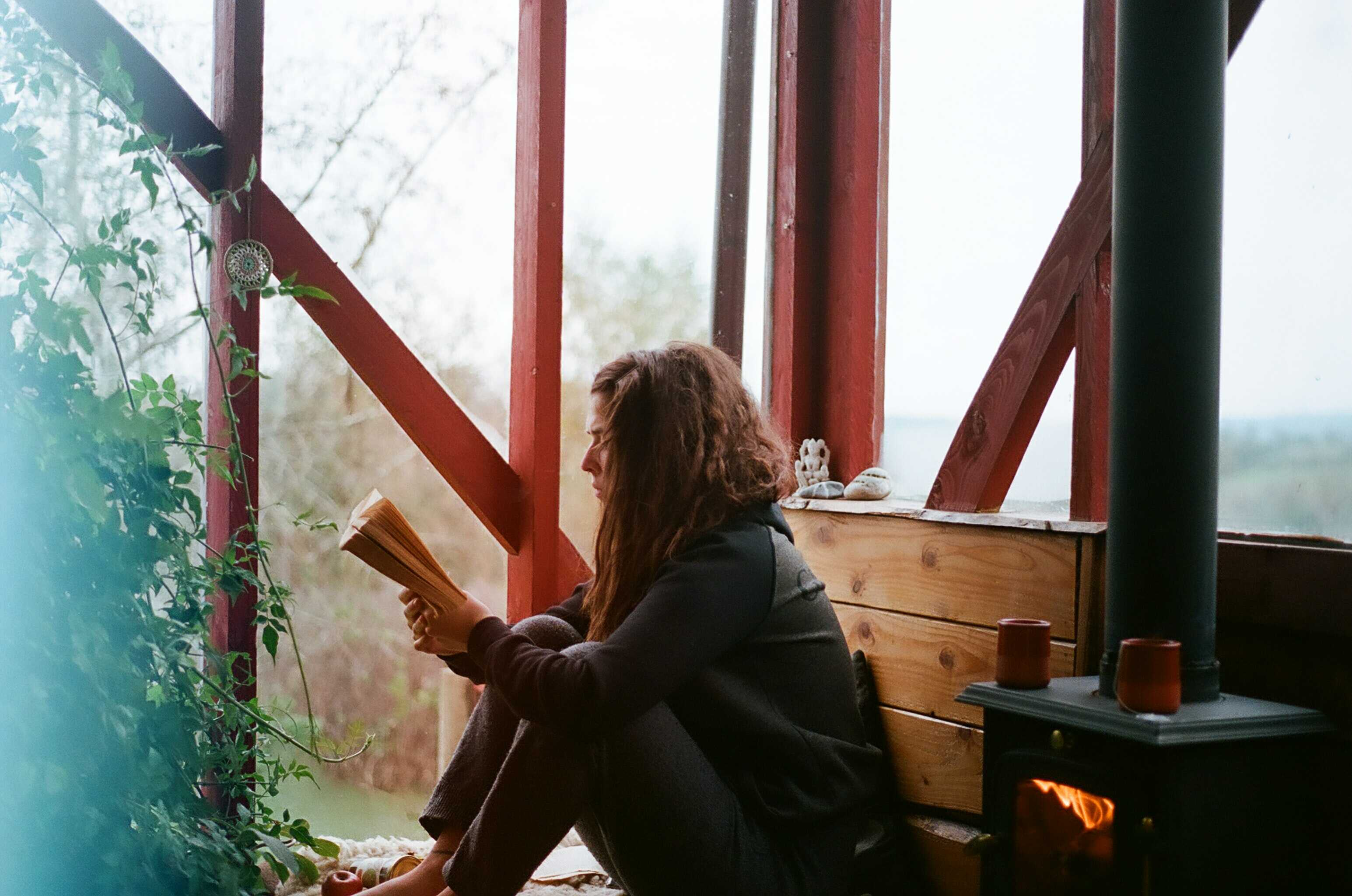 a woman is reading