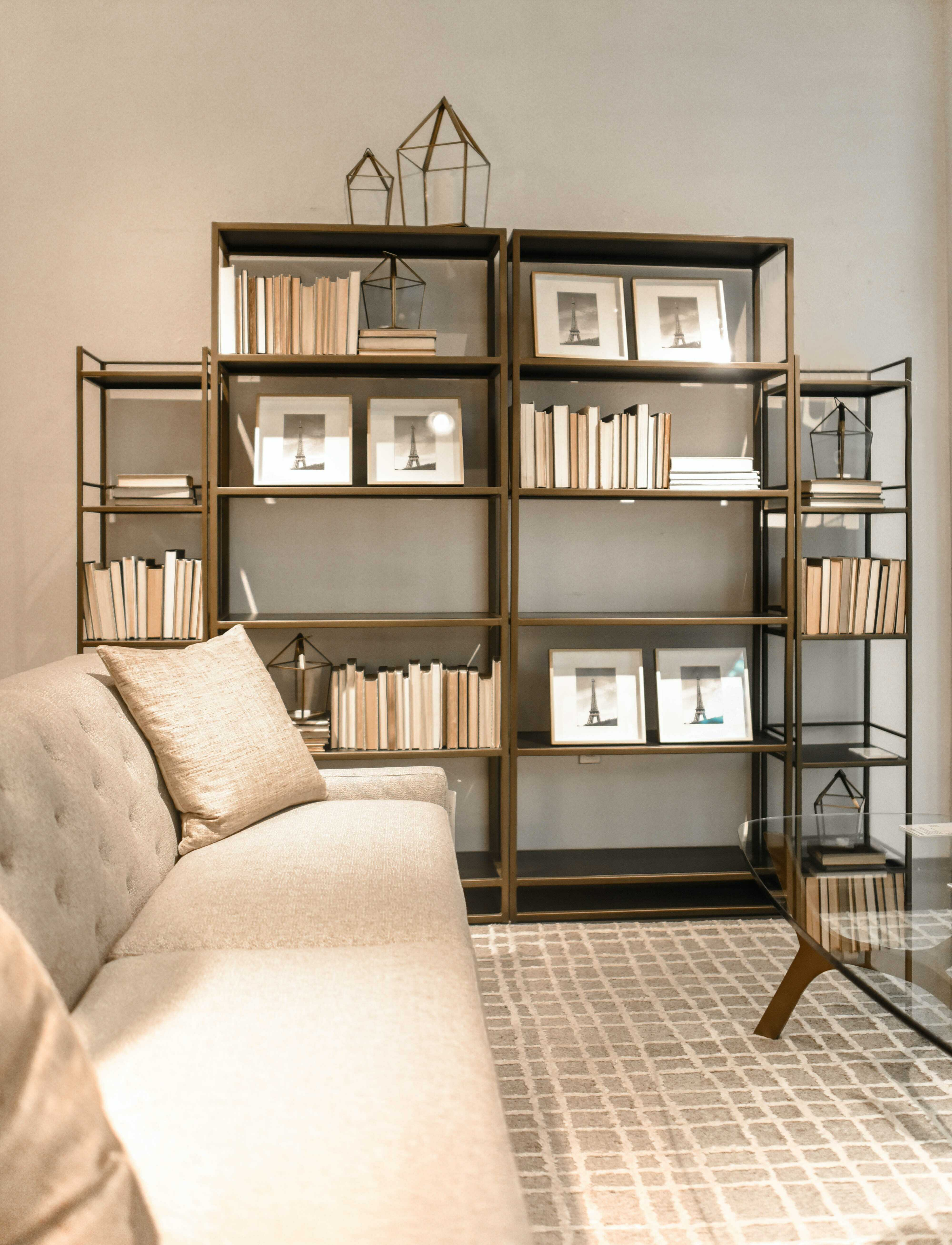 a small library in living room