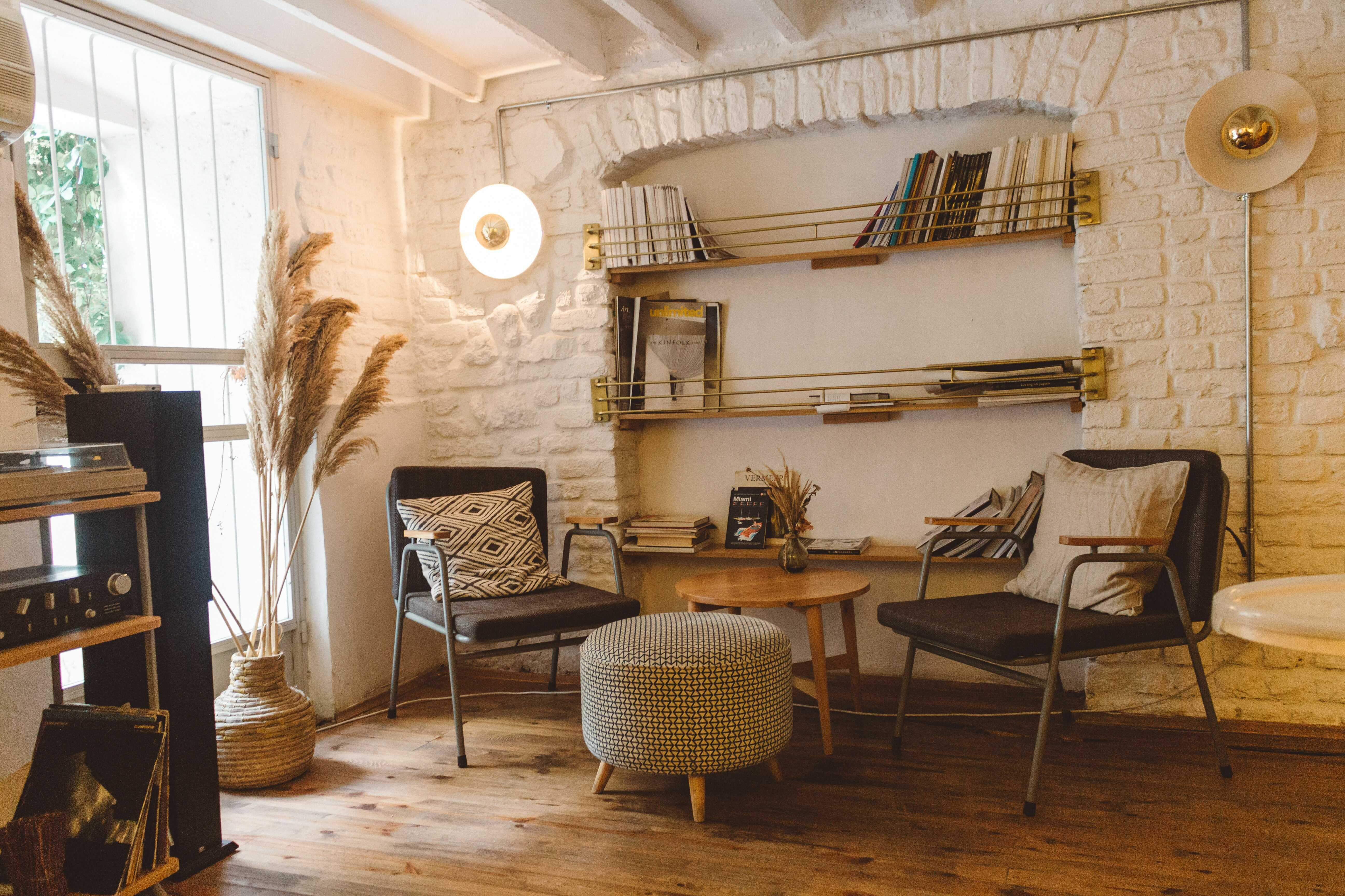 a living room library design