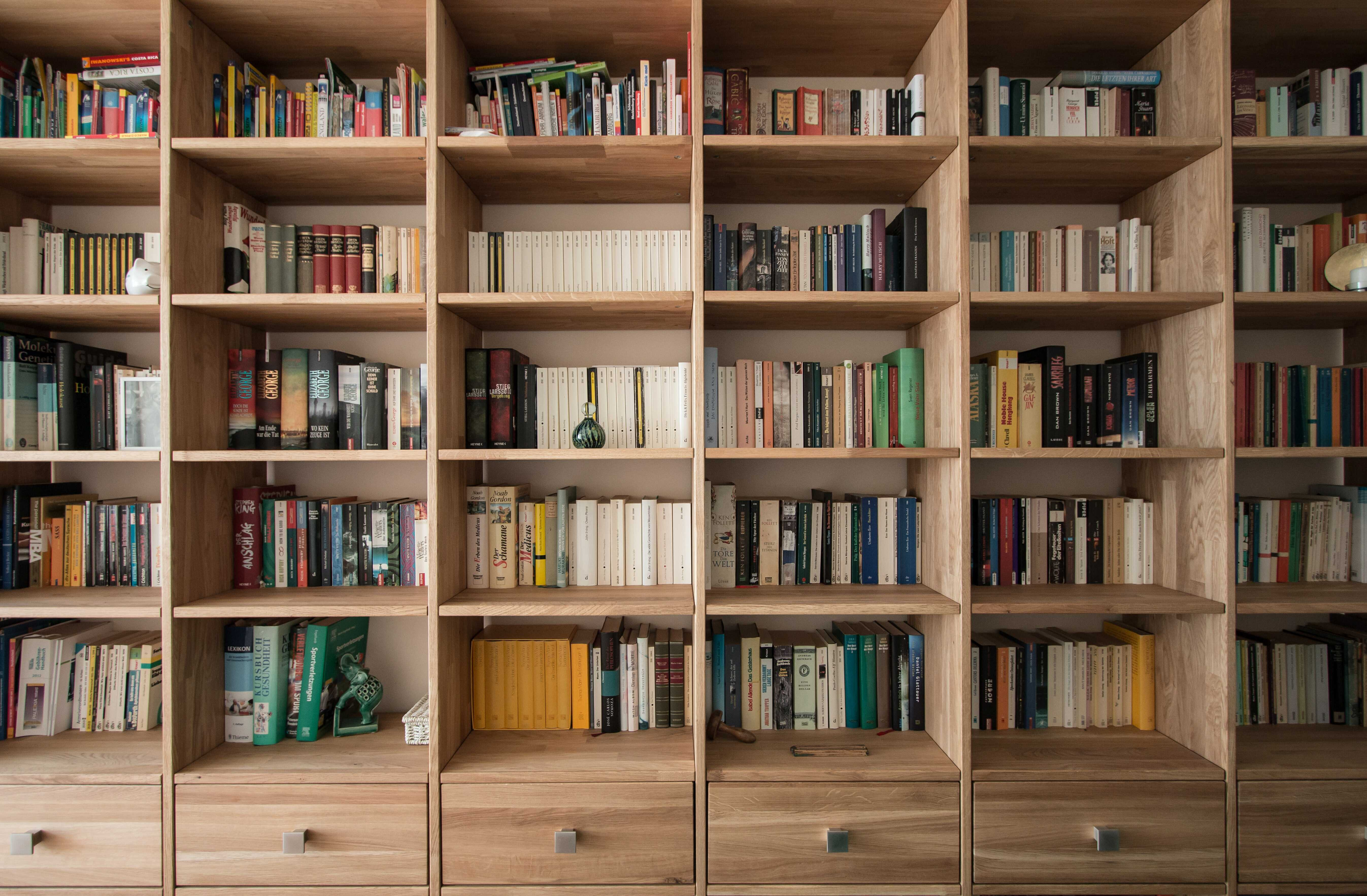 a wooden library in living room