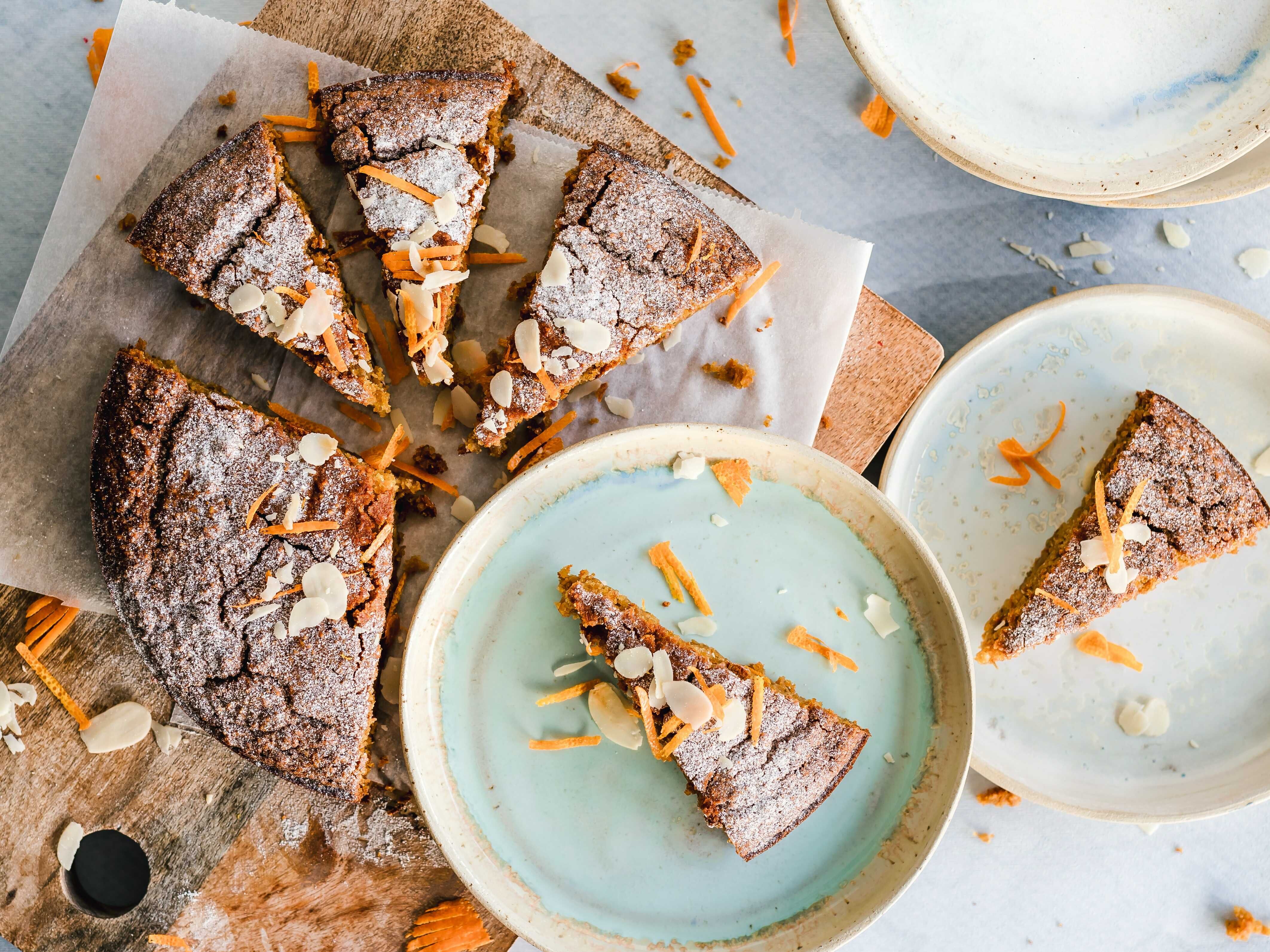 a slices of almond cake